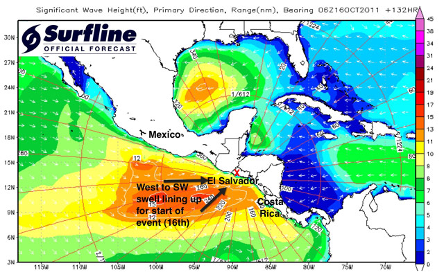 ISA World Masters: Punta Roca, El Salvador - Forecast Update: Monday evening 10/10/2011