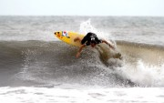 France Team Member Olivier Salvaire attacks the lip of Punta Roca and makes it through to the second round of the Masters Repechage. Photo: ISA/Watts