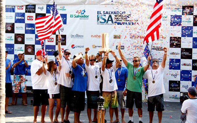 It was first-ever victory for Team USA in its first-ever ISA World Masters Surfing Championship. Photo: ISA/Watts