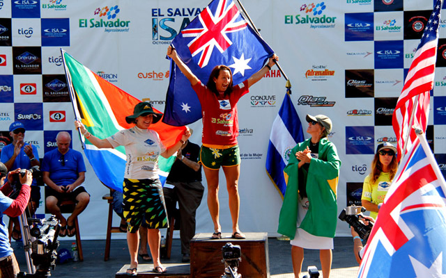 """I have eight world titles now!"" said seven-time ASP World Champion Layne Beachley after winning her first-ever ISA Gold Medal."